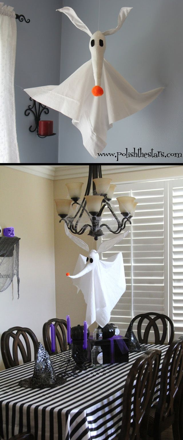 DIY: Zero the Ghost Dog  (Notice the black & white striped table cloth.  Gotta do the black & white stripes for Halloween...or any time...with Tim Burton!)
