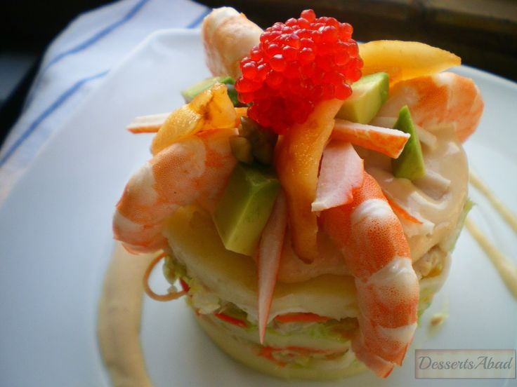 Pastel de ensalada tropical