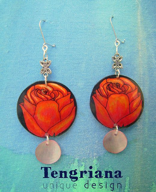 "Compassionate unique earrings with roses inspired by Andalucia and flamenco ❂ ""Gitana"" by Ines Apro-Piada, via Flickr"