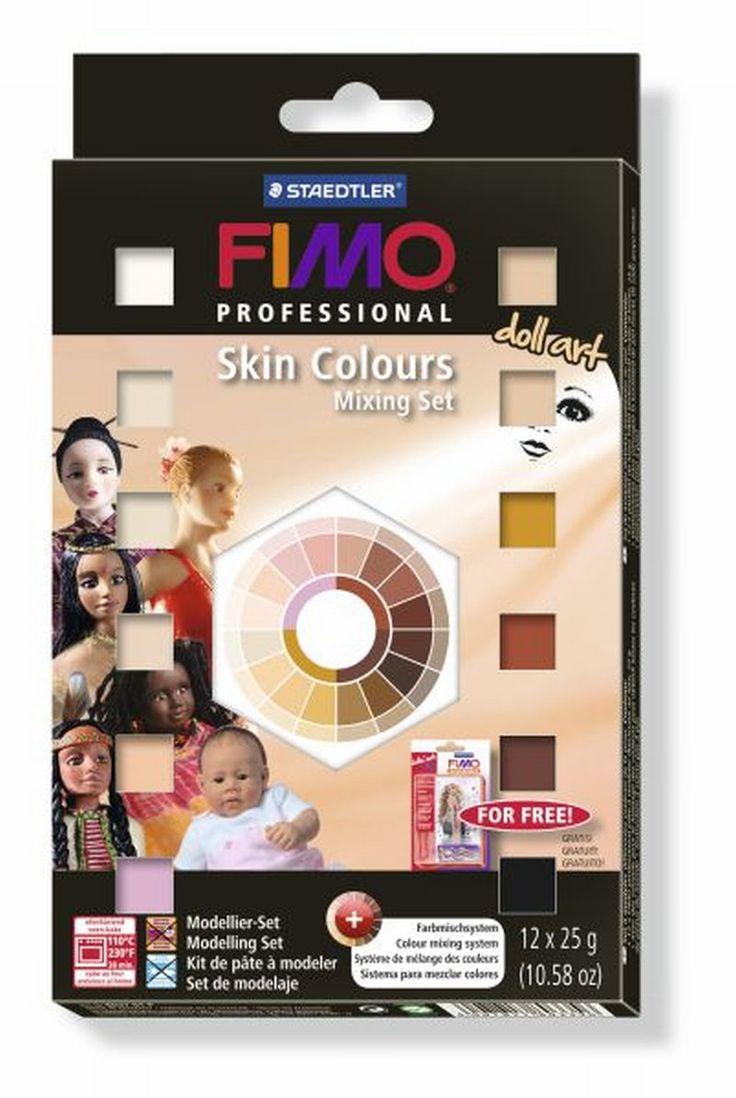 FIMO professional doll art набор Телесные цвета - 12 половинчатых блоков по 25 гр., таблица смешивания телесных цветов, рекомендации по смешиванию для получения оттенков цвета кожи всех этнических групп, пошаговые инструкции.