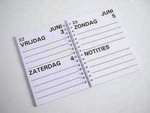 Misschien wil ik mijn conceptboek in de vorm van een agenda doen - regelen/organiseren