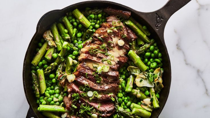 One-Skillet Steak and Spring Veg with Spicy Mustard | Dairy free, gluten free, and paleo. | Click for healthy recipe. | Via Bon Appetit