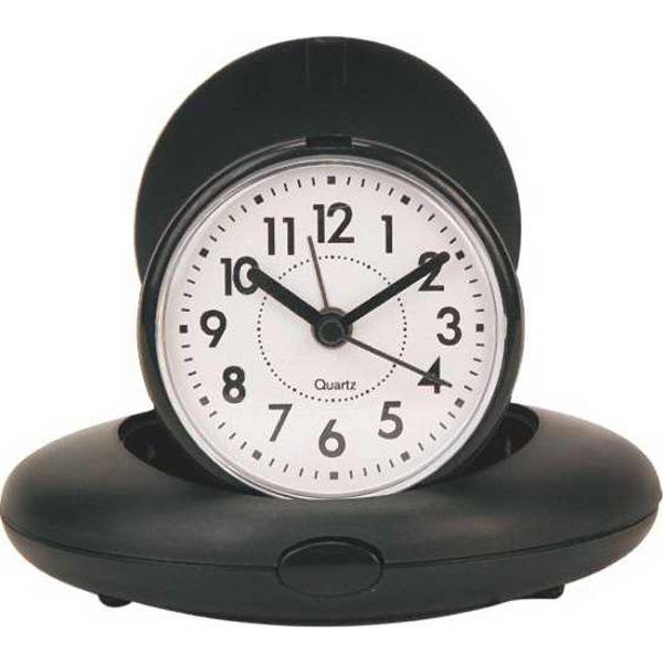 Oval Foldable Mini Alarm Clock - Oval foldable miniature travel alarm clock.