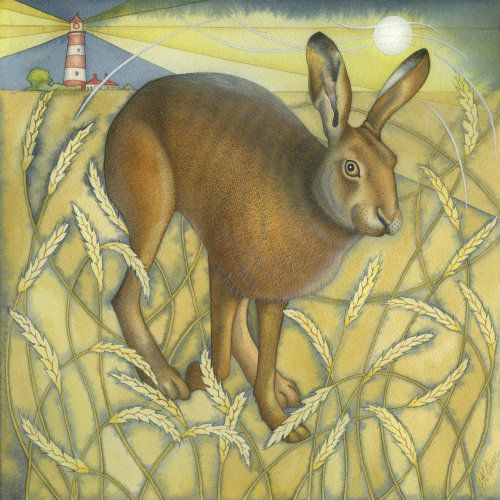Hare in the Wheat Field. (Original painting and print)