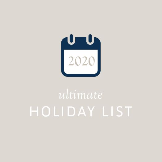We went to the ends of the earth to research over 80 major holidays and observances celebrated around the globe in order to save you hours of googling. Simply copy these dates into your own planner and launch with confidence. >>> The 2020 Ultimate Holiday List by Copper Bottom Design