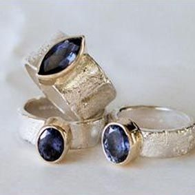 Hand made silver, and 9ct gold stone set rings by Susanna Hanl available at Franny & Filer Jewellery shop in Chorlton - www.frannyandfiler.com