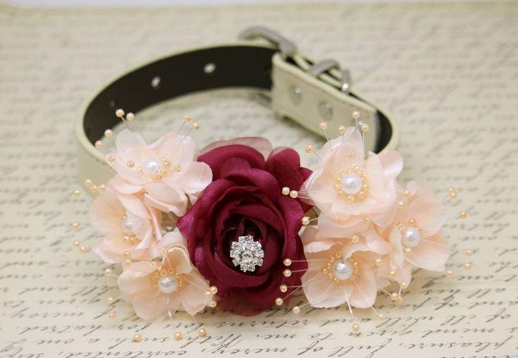 Burgundy Peach Wedding Dog Collar, Floral with pearls and Rhinestone wedding