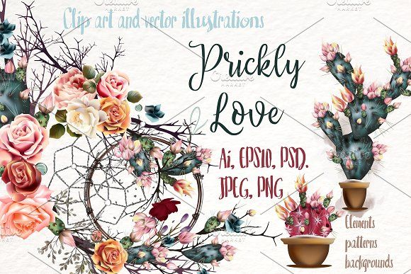 Prickly love. Vector clip art by FleurArt on @creativemarket