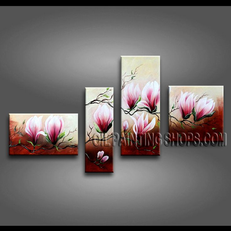 Primitive Contemporary Wall Art Oil Painting On Canvas For Bed Room Tulip Flowers. This 4 panels canvas wall art is hand painted by Anmi.Z, instock - $135. To see more, visit OilPaintingShops.com