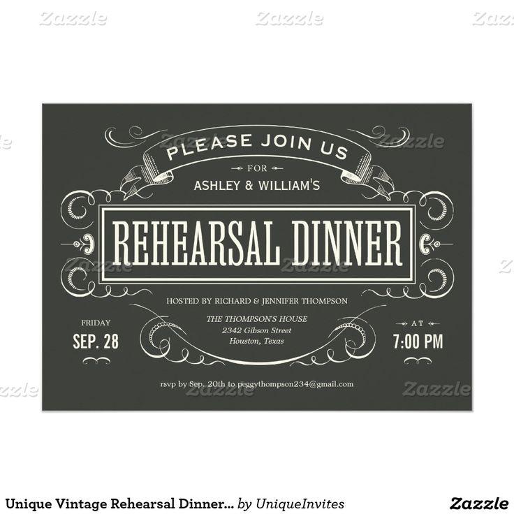 creative wording for rehearsal dinner invitations%0A Unique Vintage Rehearsal Dinner Invitations