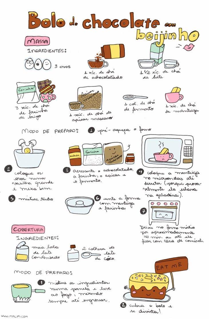 Receita de bolo de chocolate com beijinho. Ilustração: Malipi