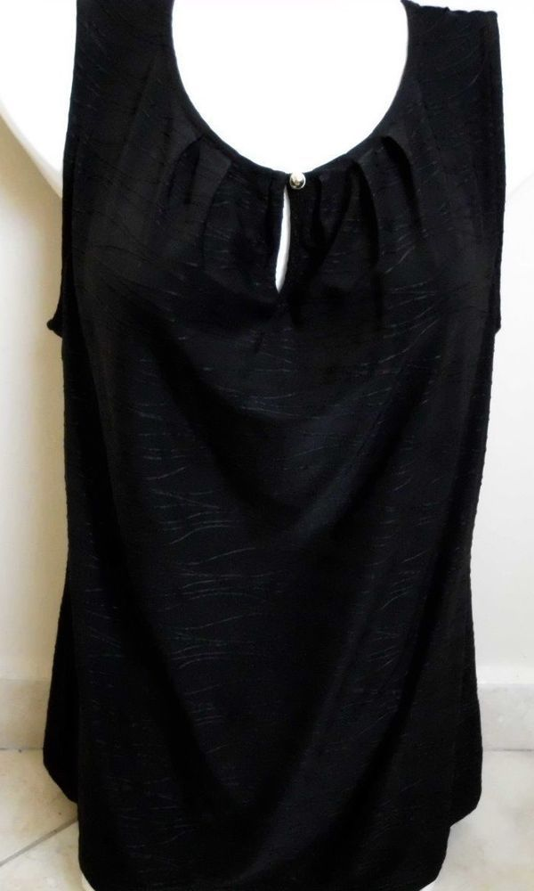 TAHARI  WOMEN'S  SHIRT BLOUSE SIZE S COLOR BLACK  SLEEVELESS  STRETCH #Tahari #Blouse