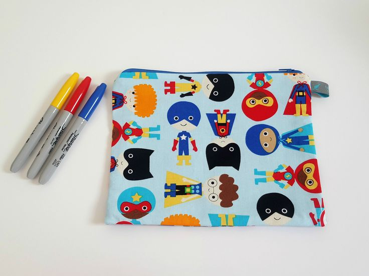 Superhero pencil case. Great gifts for boys birthday party.  #pencilcase #ollieandroo #linedpouch #largepencilcase #shophandmade