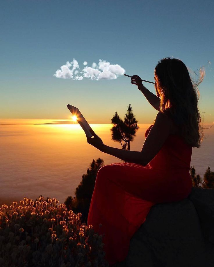 written on the canvas of the sky night landscape, floating clouds and sunset ☉