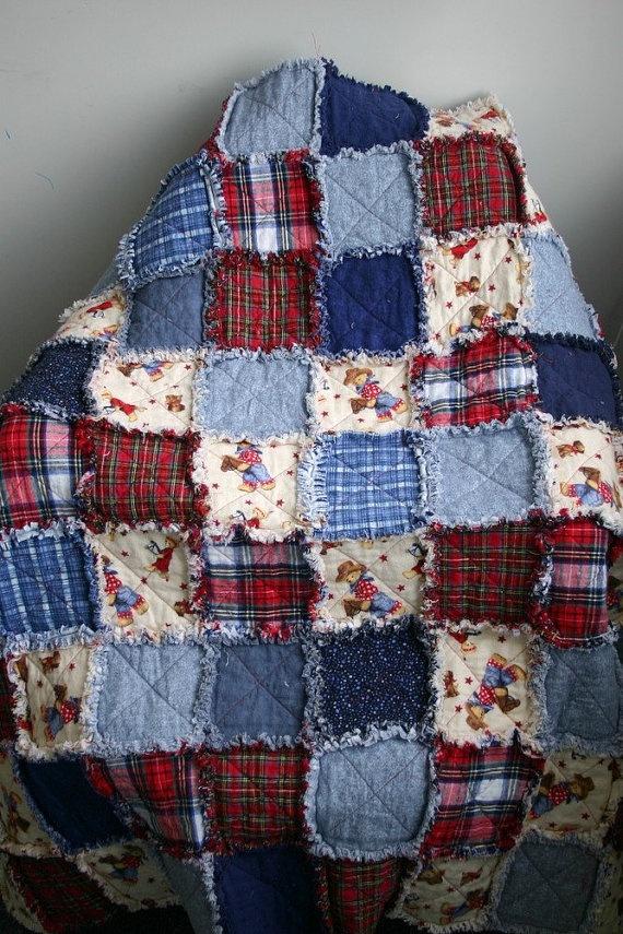 Flannel Rag Quilt Cowboy Motif Red Blue Plaid Denim Teddy