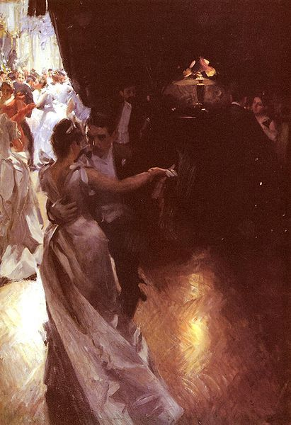 Valsen, (The Waltz) 1891, oil on canvas by Anders Zorn, Swedish, 1860-1920. A very unusual painting for Zorn whose other dance scene is ou...