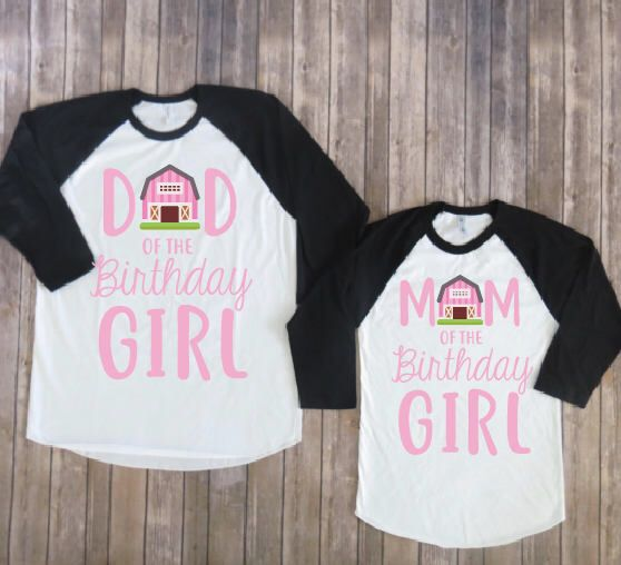 Mom and dad of birthday girl- barnyard version, farm party, barnyard party, matching parents, rustic birthday, country birthday by JADEandPAIIGE on Etsy https://www.etsy.com/listing/581691342/mom-and-dad-of-birthday-girl-barnyard