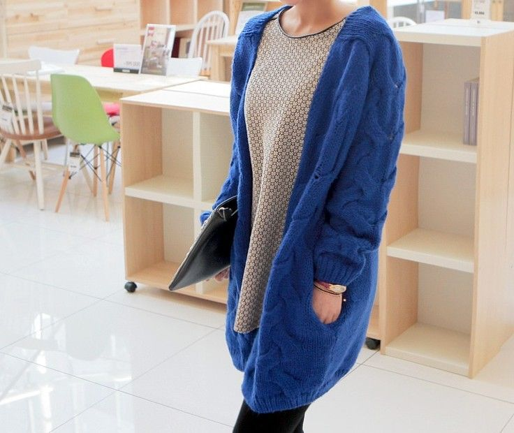 Свитера 2015 женщины мода корейский стиль осень зима новый прибытия Большой размер широкий твердые компьютер вязаный кардиган свитер 7241