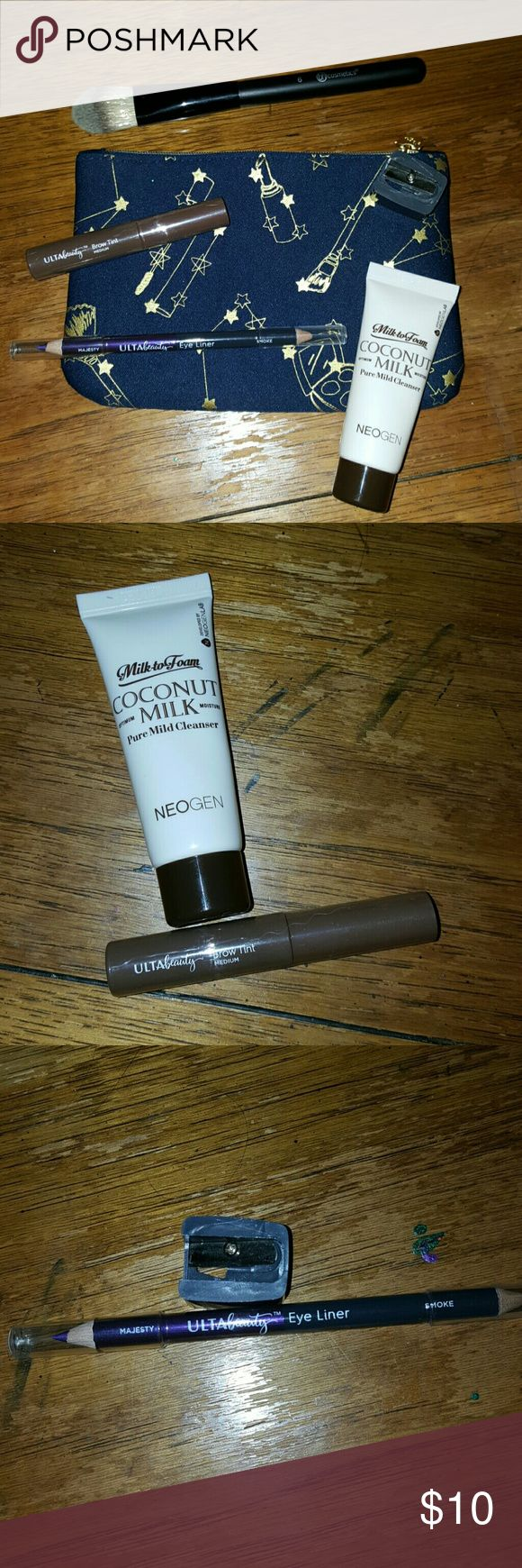 Makeup Bundle #3 -1st item is a coconut milk cleanser. It has never been used or opened, and it is a foaming face cleanser. -2nd item is an Ulta beauty brow tint in the shade of medium. It also has never been opened or used.  -3rd item is an Ulta beauty pencil eye liner. It has two ends; majesty and smoke. It has never been used and comes with a sharpener.  -4th item is a BH cosmetics foundation brush. It has never been used but I still washed it. -5th item is a makeup bag with makeup star…