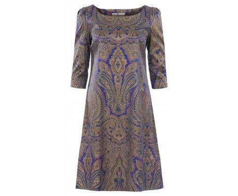 Dressfactor A-lijn jurk zijde blauw goud brokaat