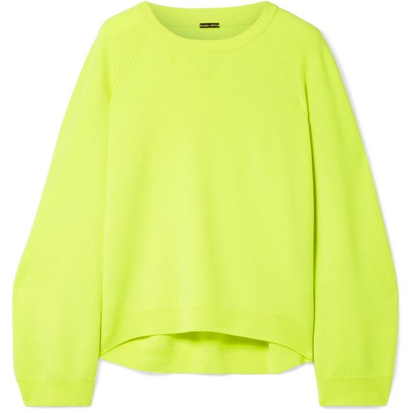 Adam Lippes Oversized merino wool sweater ($880) ❤ liked on Polyvore featuring tops, sweaters, neon top, loose sweater, merino wool sweater, neon yellow top and loose fit sweater