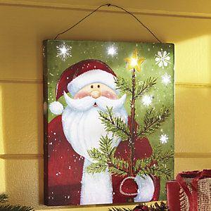Lighted Santa Wall Canvas