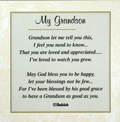 happy birthday grandson poems - Google Search