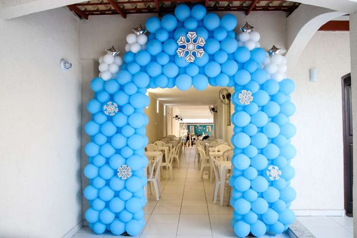 Balloon arch at a Frozen birthday party! See more party planning ideas at CatchMyParty.com!