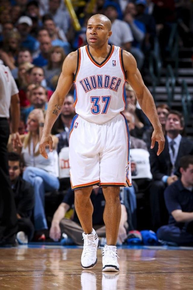 Derek Fisher-OKC Thunder- hittin those 3's in round 1 game 3 of play offs against the rockets!