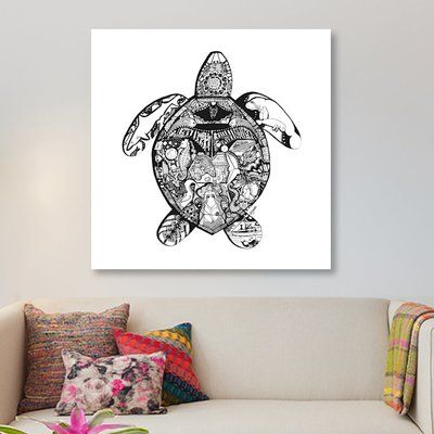 East Urban Home 'Goodbye Series: Sea Turtle' Graphic Art Print on Canvas Size: 12'' H x 12'' W x 0.75'' D