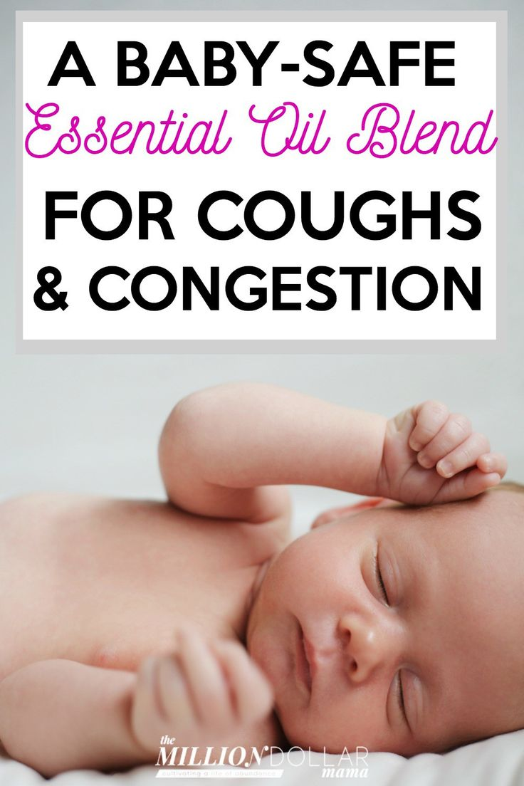 How to naturally ease a cold in babies using a baby-safe essential oil blend for coughs & congestion along with a natural cough syrup.