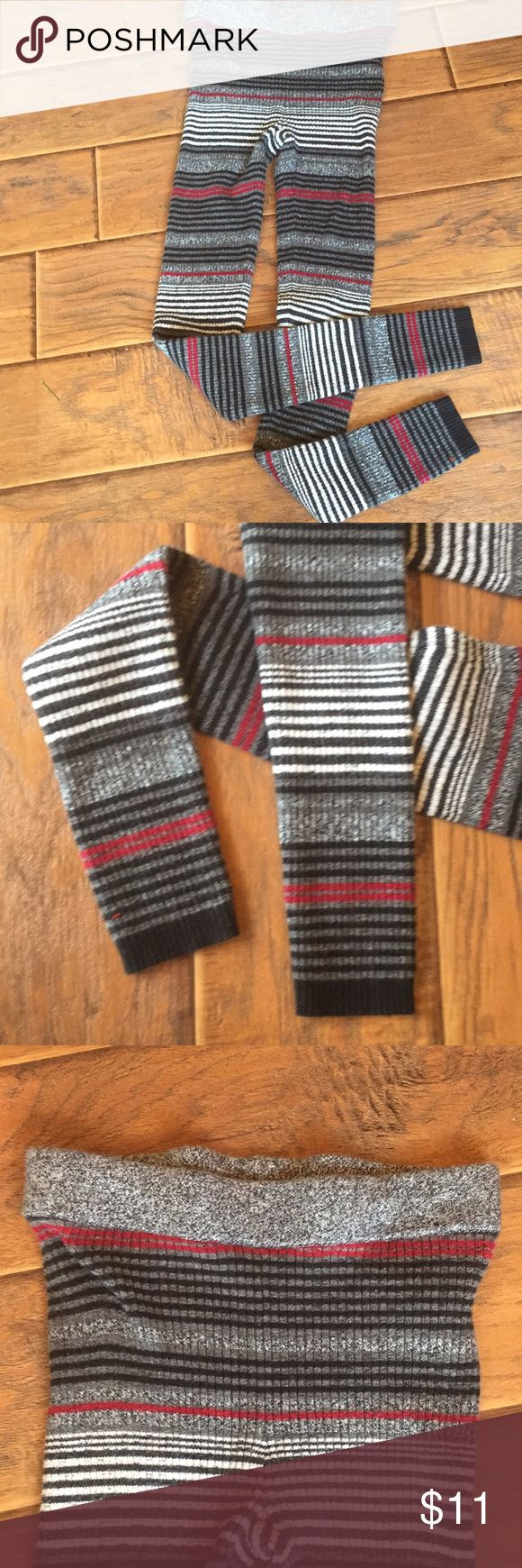 American Eagle Stripe Sweater Leggins/Pants - S/P Cute American Eagle sweater stripe Leggins/pants, dark gray, black, burgundy, white stripe.  Gently worn, great condition.  Goes good with gray sweater listed. American Eagle Pants Leggings