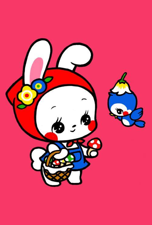 キノコ売りのうさぎさん cute kawaii chibi rabbit and bluebird cute kitsch retro illustration , graphic cartoon book print
