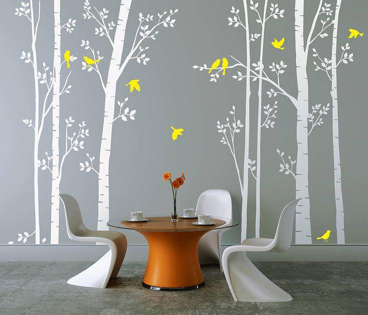 Leafy Trees White Wall Sticker
