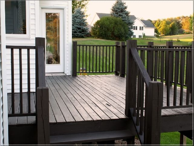 Traditional Patio Deck With Black Wooden Olympic Dark Stained And Brown Railing Stain Findingwinter