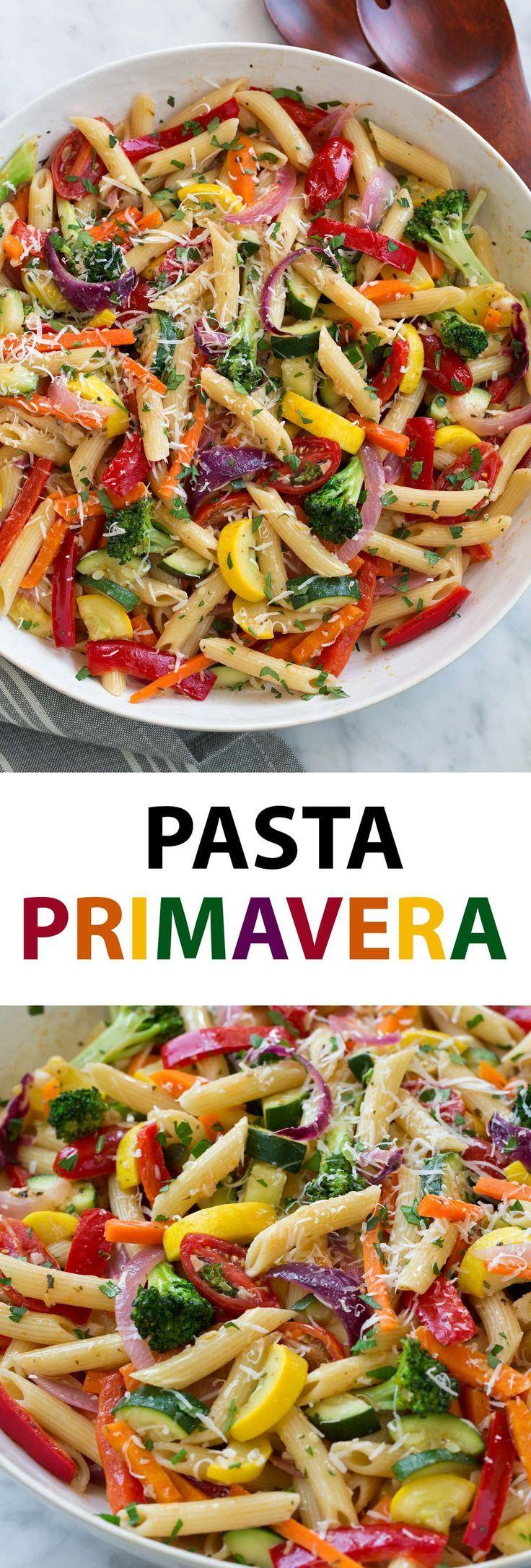 Pasta Primavera – Dies ist ein herzhaftes, vegetarisches Pastagericht, das perfe…