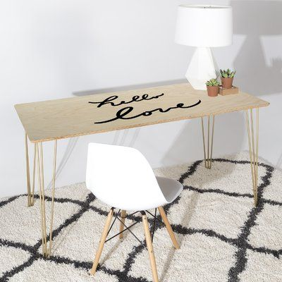 DENY Designs Lisa Argyropoulos Hello Love On White Writing Desk R