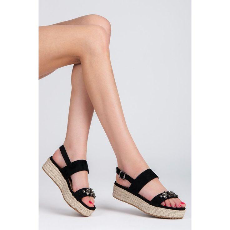 Sandále espadrilky s kamienkami 8133-1B