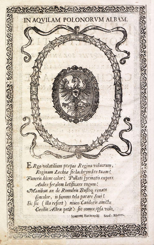 "Polish Eagle with Vasa crest in Jan Racki's ""Depositvm mortalitatis jn exeqviis solennibvs Caeciliae Renatae"" by Marcin Filipowski-Staniec, 1644 (PD-art/old), Biblioteka Narodowa"