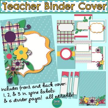 Blue Floral Teacher Binder Cover, Back, Spine, and DividersIncludes:-1 Editable Cover-1 Back Cover-Editable Spine Labels in 1, 2, & 3 inches-6 different editable dividersPerfect way to keep organized in style!  You can use it again and again by easily changing the year or sections as needed!The file will be opened as a PDF file and you can add your name and information to each page.