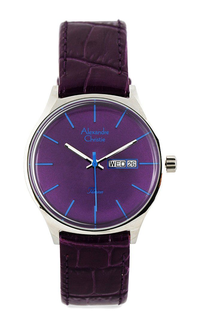 Purple Acf2393 Lelsspu Round Watch by Alexandre Christie. Simple watch with analog movement, purple case, and purple straps, made this look so cute but classy, purple leather watch that perfect for formal or semi formal occasion. http://www.zocko.com/z/JHqvO