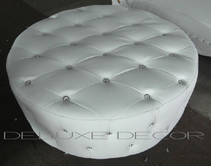 Monique Modern White PU Leather Crystal Buttoned Round Ottoman Seat http://deluxedecor.com.au/products-page/monique-collection/page/2/