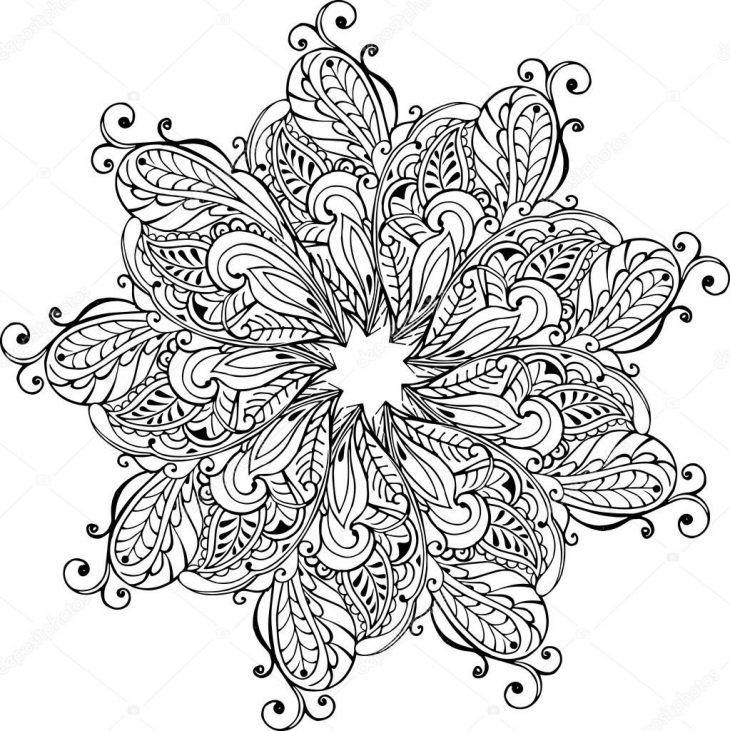 Mandala Coloriage Anti Stress Mandala Paisley Monochrome De Encequiconcerne Coloriage Mandala Anti Stress