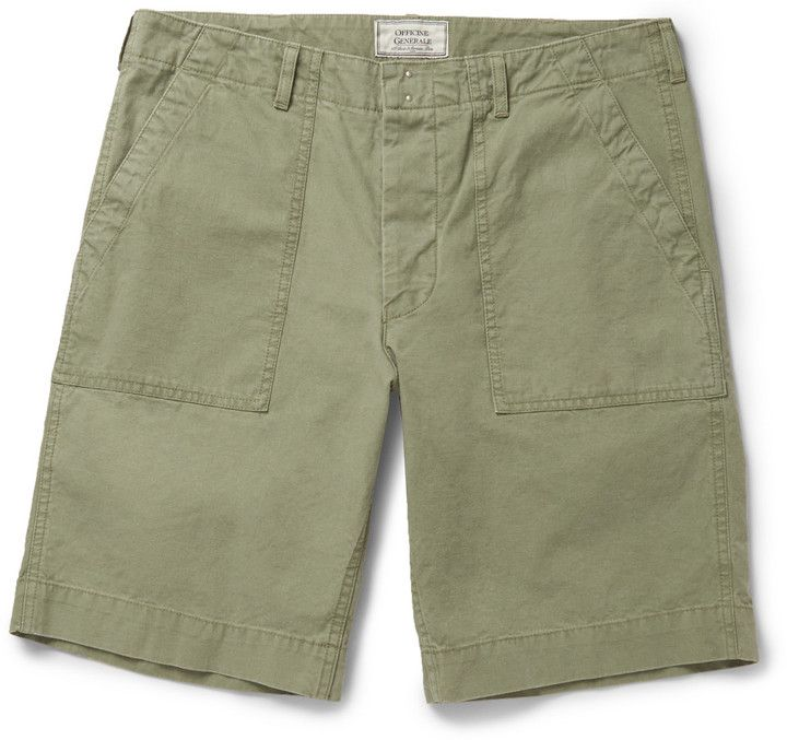 $290, Officine Generale Brushed Cotton Shorts. Sold by MR PORTER. Click for more info: https://lookastic.com/men/shop_items/243075/redirect