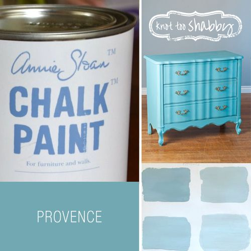 Provence Chalk Paint® | Provence is a light blue which is mostly found on child furniture and can complement many colors. As shown in the picture its goes well with Antibes which is a grassy green color. Find your own combination for Provence.  Blue green shutters in the South of France are the inspiration for this color. Set against walls of any of the whites. Provence needs light and bright fabrics with a Mediterranean and seaside feel.