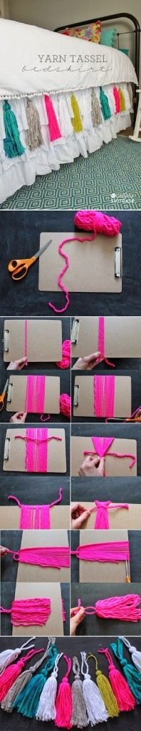 DIY Yarn Tassel Bedskirt #DIY #Yarn #Homedecor #handicraft