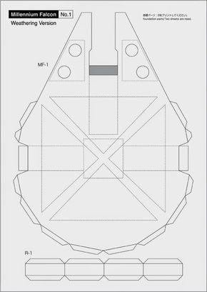 Maqueta descargable y recortable del Halcón Milenario2