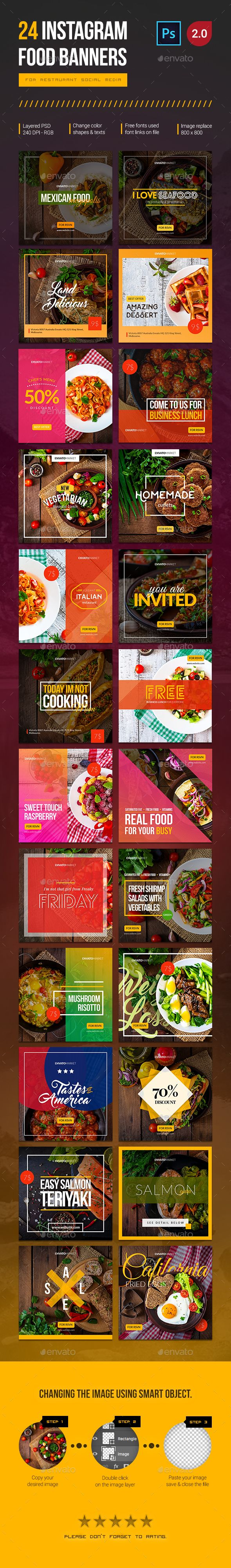 24 Instagram Food Banners - Social Media Web Elements