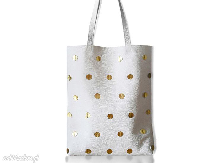 • na ramię, torebki - worek w złote kropki skóra naturalna biała