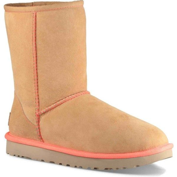 UGG Women's Classic Short II Neon Soft Ochre Boots ($160) ❤ liked on Polyvore featuring shoes, boots, ankle booties, ankle boots, tan, bootie boots, neon boots, tan booties and short booties